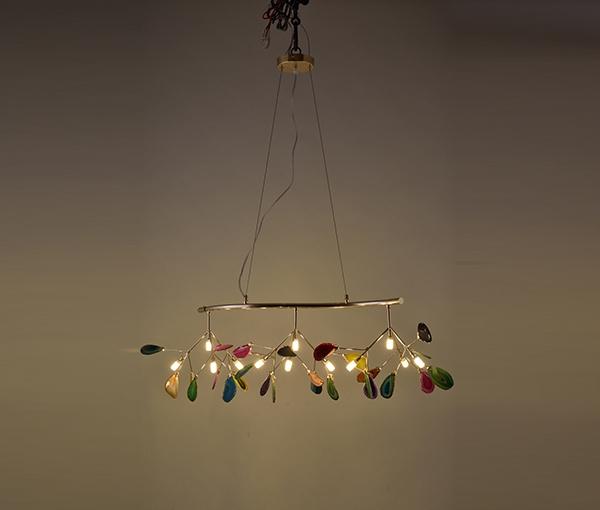 加多代轻奢后现代灯单头三头四头五头S形玛瑙吊灯