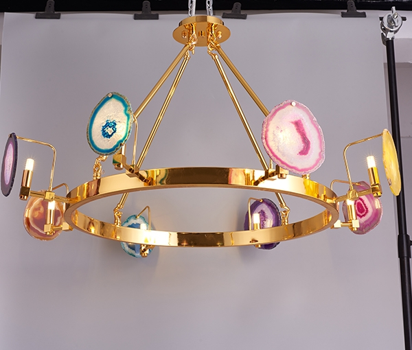 加多代设计感奢华圆圈巴西玛瑙吊灯