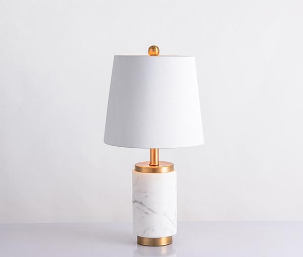 加多代大理石奶白灯罩美式简约台灯
